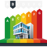 Energy Class Certificate Office Building. Simple infographic vector illustration of building energy efficiency classification certificate Royalty Free Stock Images