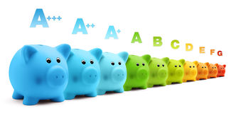Energy class efficiency scale savings of colorful piggy bank Stock Image