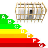Energy class rating diagram of new building vector illustration