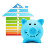Energy class scale savings efficiency  piggy bank home. On white background Stock Images