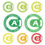 Energy class stamps from A+ to G Stock Photo