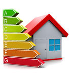 Energy classification. 3d illustration of house and energy classification symbol, over white background Royalty Free Stock Photo