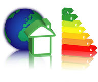 Energy classification. House with energy classification and earth Stock Photo