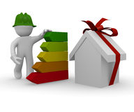 Energy classification. 3d man with energy classification of a house Royalty Free Stock Images