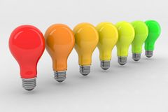 Energy classification light bulbs. Colors 3d illustration Royalty Free Stock Photos