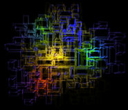 Energy color splash in abstract rectangular lines Stock Images