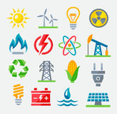 Energy colorful icons Royalty Free Stock Photos