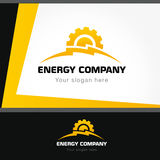 Energy company logo. Electrical or mechanic industrial company brand icon. Lightning and gears as sunrise. Electricity, bolt vector sign. Brandbook idea Royalty Free Stock Image