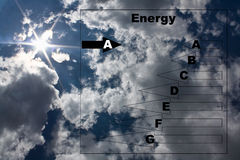Energy concept. Energy consumption  chart on a  clear sky with the sun in a star shape Stock Photo
