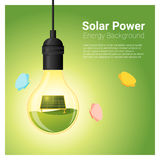 Energy concept background with solar panel in light bulb Stock Image