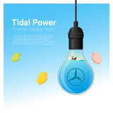 Energy concept background with tidal energy in light bulb Stock Photos