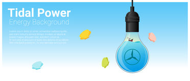 Energy concept background with tidal energy in light bulb Stock Photography