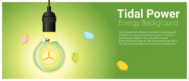 Energy concept background with tidal energy in light bulb Royalty Free Stock Image