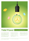 Energy concept background with tidal energy in light bulb Stock Image