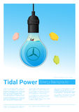 Energy concept background with tidal energy in light bulb Royalty Free Stock Photography