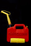 Energy Concept with Gas Can. Gasoline can and corn to show energy concept royalty free stock photo