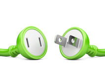 Energy concept. green electric plug and outlet Stock Image