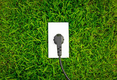 Energy concept outlet in fresh spring green Stock Photos