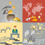 Energy concept: petroleum, coal, nuclear power plants Royalty Free Stock Photos
