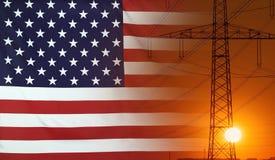 Energy Concept USA Flag with sunset power pole Stock Photos