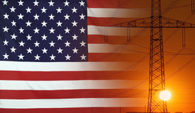 Free Energy Concept USA Flag With Sunset Power Pole Stock Photos - 73902363