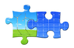 Energy concepts from puzzle. Isolated on wite Royalty Free Stock Image