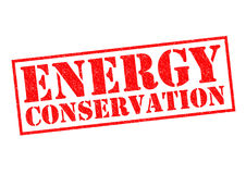 ENERGY CONSERVATION. Red Rubber Stamp over a white background Stock Photography