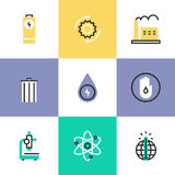 Energy conservation research pictogram icons set. Flat line icons of world energy conservation, global warming, recycle bin, clear water consumption, power plant vector illustration