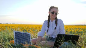 Energy consuming technology, girl talking on laptop using solar battery on field of sunflowers, young woman applying. Solar cell outdoors, female in backlight stock footage