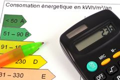 Energy consumption concept. With a graph and a calculator royalty free stock photography