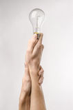 Energy consumption and energy saving topic: human hand holding a light bulb on a white background in studio Stock Images