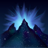 Energy cosmic explosion over the mountains Nebula vector space. Royalty Free Stock Images