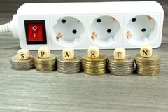 Energy costs and cash. Energy costs and Euro money stock photos
