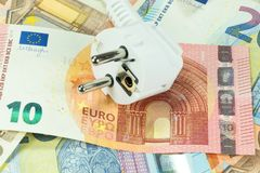 Energy costs and cash. Energy costs and Euro money royalty free stock images