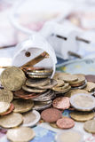 Energy Costs Concept. (close-up shot) with European money stock photo