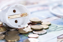 Energy Costs Concept. (close-up shot) with European money stock photos