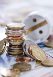 Energy Costs Concept. (close-up shot) with European money royalty free stock photos