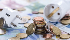 Energy Costs Concept. (close-up shot) with European money Stock Image