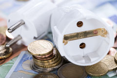 Energy Costs Concept. (close-up shot) with European money Royalty Free Stock Images