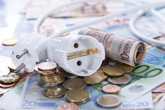 Energy Costs. Concept with European money (close-up shot royalty free stock photo