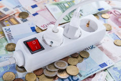 Energy Costs. Concept with European money (close-up shot stock photography