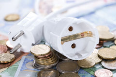 Energy Costs. Concept with European money (close-up shot royalty free stock photography