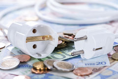 Energy Costs. Concept with European money (close-up shot stock photos