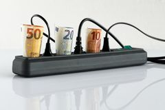 Energy costs and electricity prices. The Energy costs and electricity prices stock images