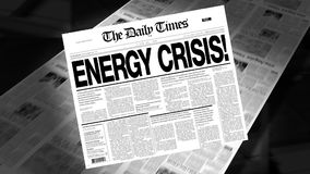Energy Crisis - Newspaper Headline (Reveal + Loops) stock video