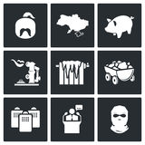 The energy crisis in Ukraine Vector Icons Set Stock Photos