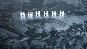 ENERGY cube letter on solar silicon cell surface. Concept of renewable clean energy stock photography