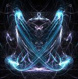Energy Currents Mirrored. Energy two currents mirrored abstract blue, dark background, vertical stock illustration