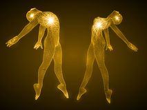 Energy of the dancing man and girl figures. Spiritual energy beams inside head and torso. golden color version Stock Images