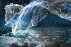 Energy design over landscape. At night time Stock Photo